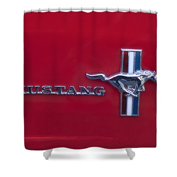 1965 Ford Mustang Emblem 4 Shower Curtain by Jill Reger