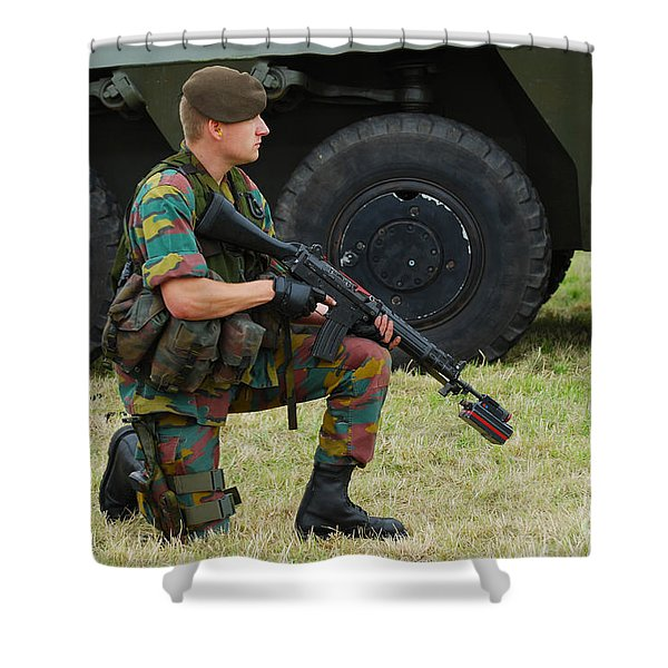 A Soldier Of An Infantry Unit Shower Curtain by Luc De Jaeger