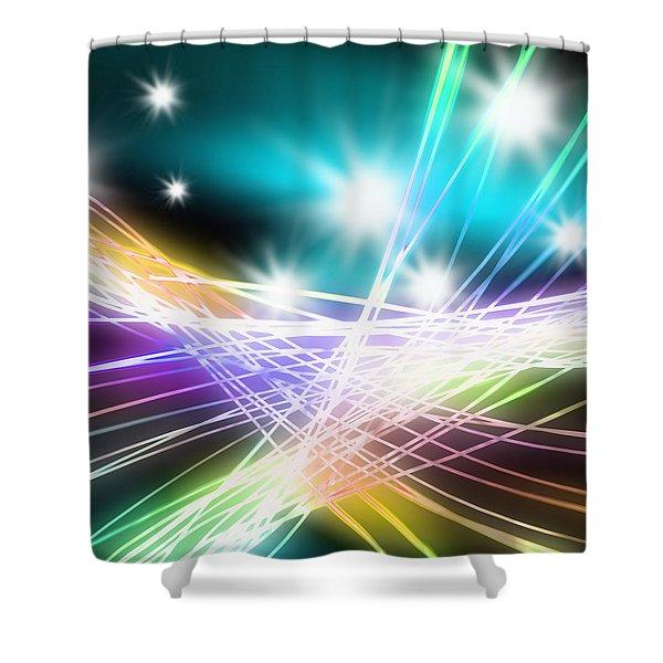 Abstract of stage concert lighting Shower Curtain by Setsiri Silapasuwanchai
