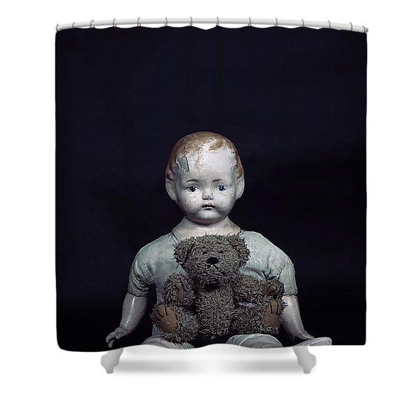doll and bear Shower Curtain by Joana Kruse