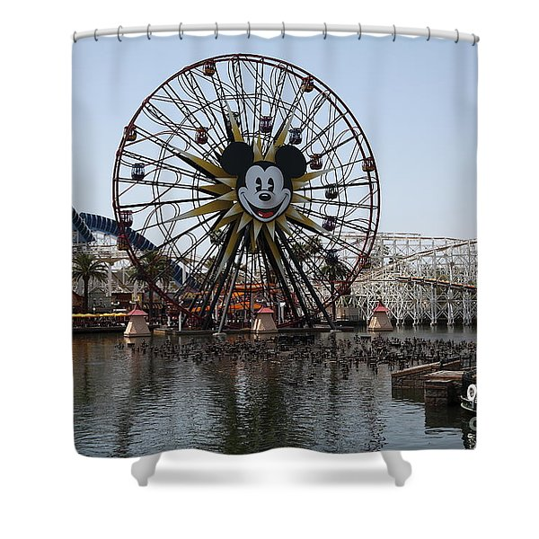 Ferris Wheel And Roller Coaster - Paradise Pier - Disney California Adventure - Anaheim California - Shower Curtain by Wingsdomain Art and Photography