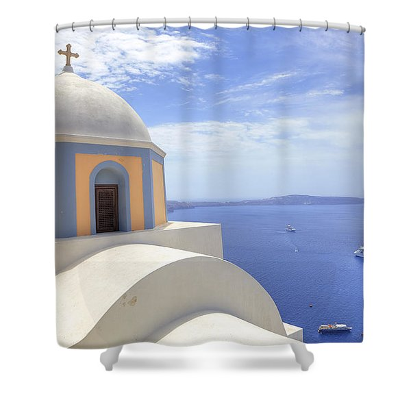 Fira - Santorini Shower Curtain by Joana Kruse