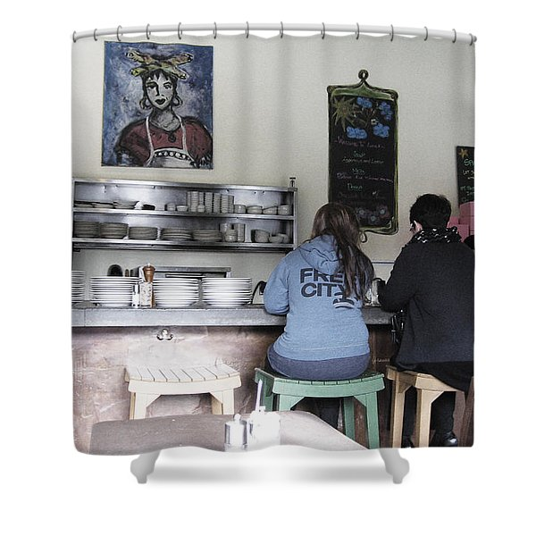 2 Girls at the Bakery Bar Shower Curtain by Kym Backland