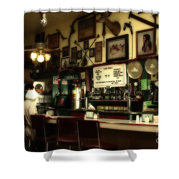 Historic Niles District in California Near Fremont . Bronco Billys Pizza Palace . 7D10707 Shower Curtain by Wingsdomain Art and Photography