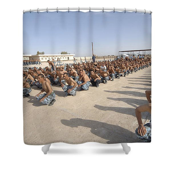 Iraqi Police Cadets Being Trained Shower Curtain by Andrew Chittock