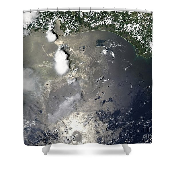Oil Slick In The Gulf Of Mexico Shower Curtain by Stocktrek Images