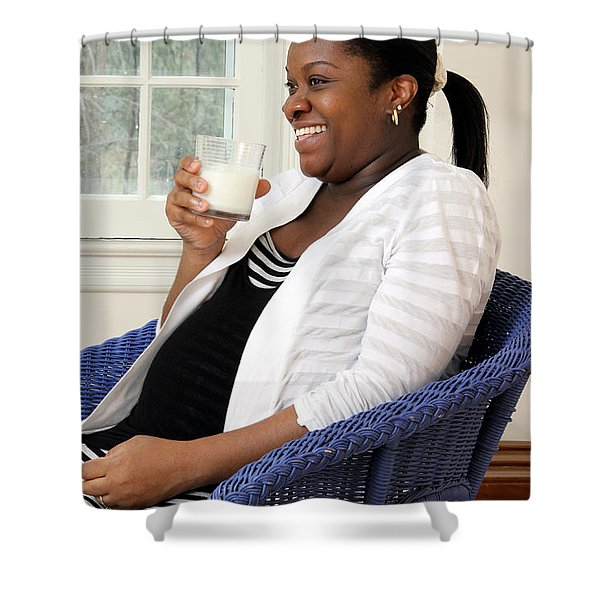 Pregnant Woman Drinking Milk Shower Curtain by Photo Researchers