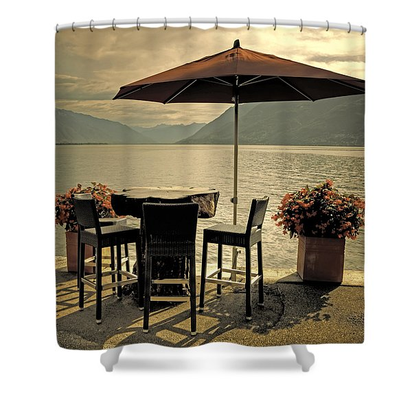 table and chairs Shower Curtain by Joana Kruse