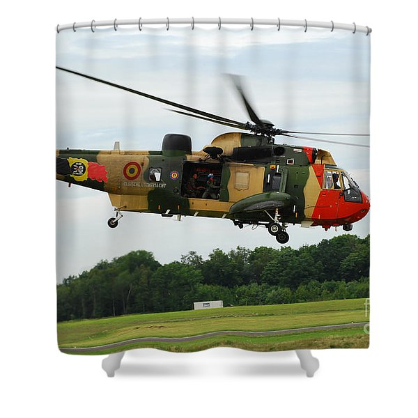 The Sea King Helicopter Of The Belgian Shower Curtain by Luc De Jaeger