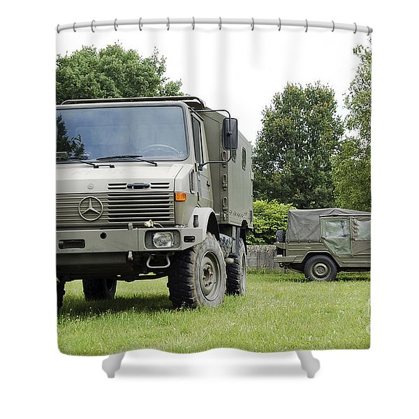 Unimog Truck Of The Belgian Army Shower Curtain by Luc De Jaeger