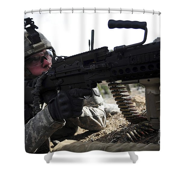 U.s. Army Soldier Provides Security Shower Curtain by Stocktrek Images