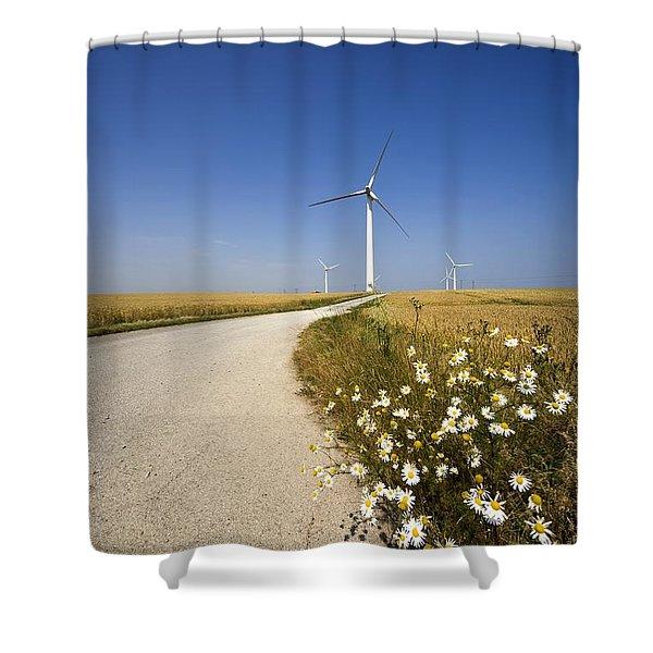 Wind Turbine, Humberside, England Shower Curtain by John Short