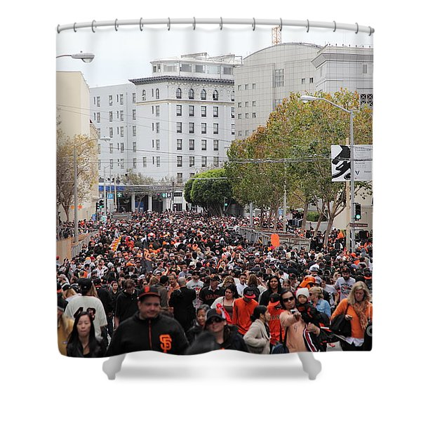 2012 San Francisco Giants World Series Champions Parade Crowd - Dpp0001 Shower Curtain by Wingsdomain Art and Photography