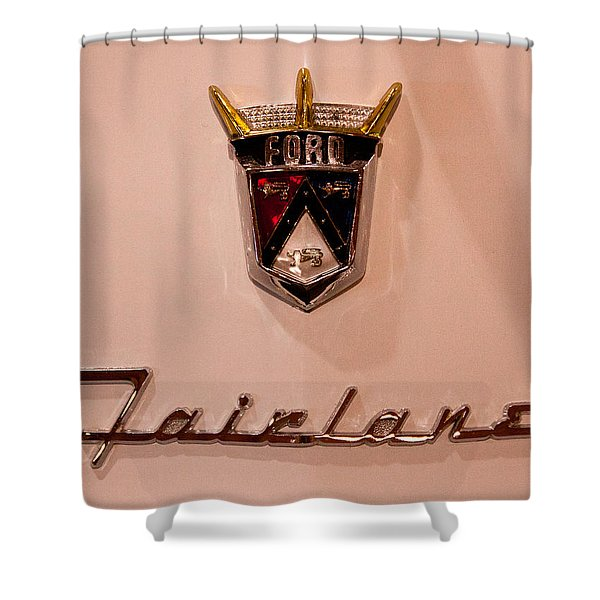 1955 Ford Fairlane Crown Victoria 2-door Hardtop Shower Curtain by David Patterson