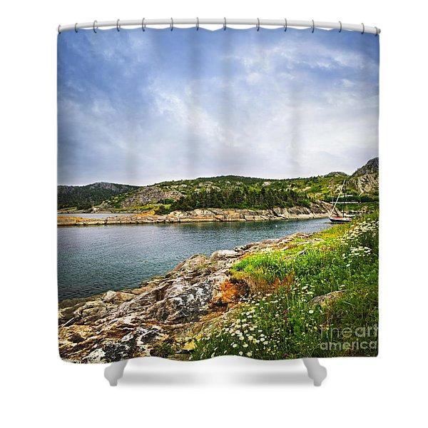 Atlantic coast in Newfoundland Shower Curtain by Elena Elisseeva
