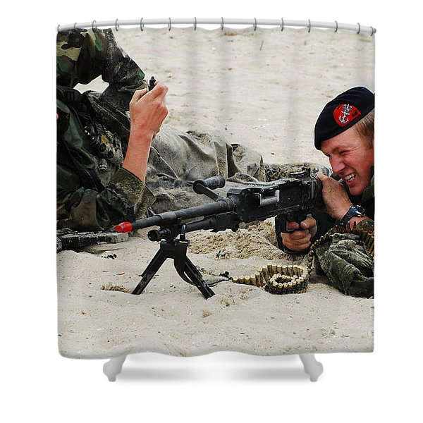 Dutch Royal Marines Taking Part Shower Curtain by Luc De Jaeger