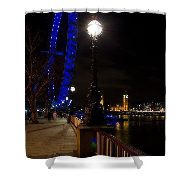 London Eye Night View Shower Curtain by David Pyatt