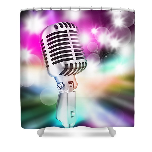microphone on stage Shower Curtain by Setsiri Silapasuwanchai