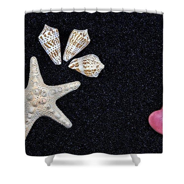 Starfish On Black Sand Shower Curtain by Joana Kruse