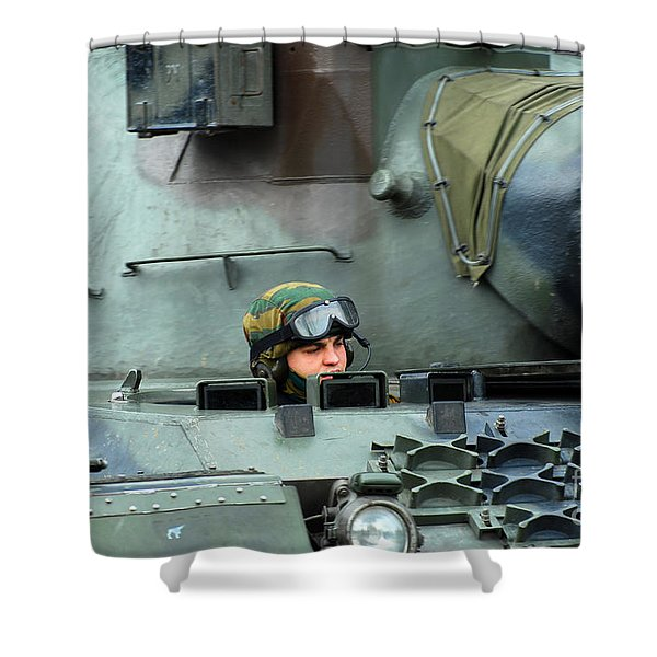 Tank Driver Of A Leopard 1a5 Mbt Shower Curtain by Luc De Jaeger