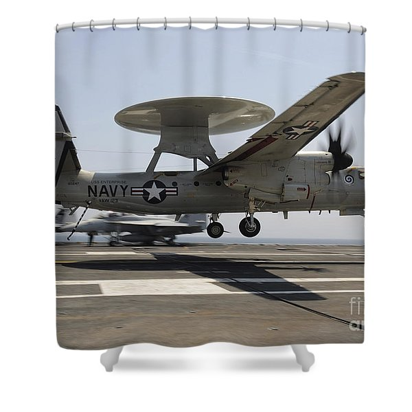 An E-2c Hawkeye Lands Aboard Shower Curtain by Stocktrek Images