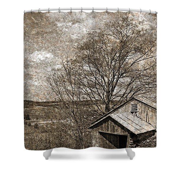 Rustic Hillside Barn Shower Curtain by John Stephens