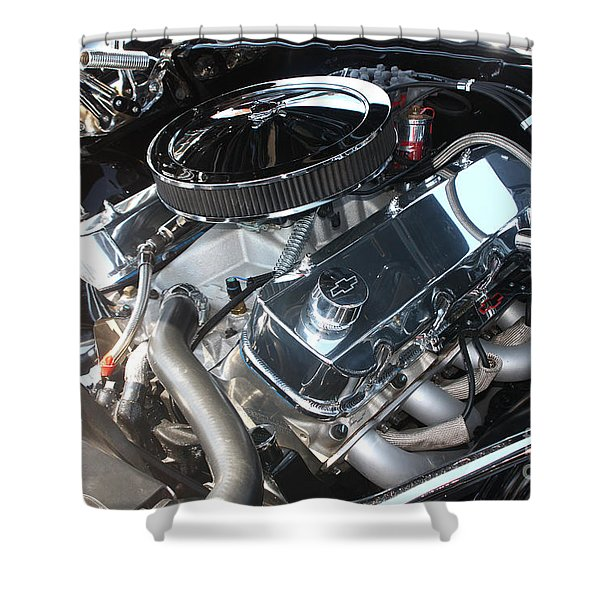 67 Black Camaro Ss 396 Engine-8033 Shower Curtain by Gary Gingrich Galleries