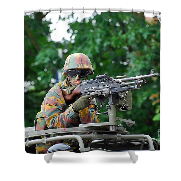A Belgian Army Soldier Handling Shower Curtain by Luc De Jaeger