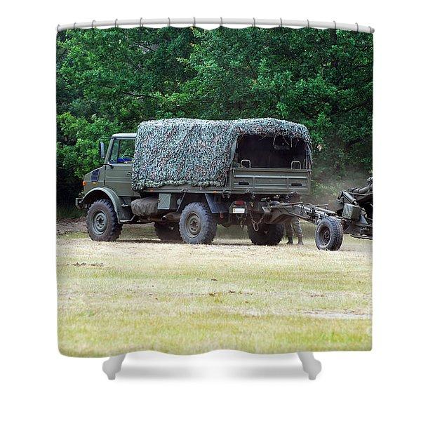 A Belgian Artillery Unit Setting Shower Curtain by Luc De Jaeger