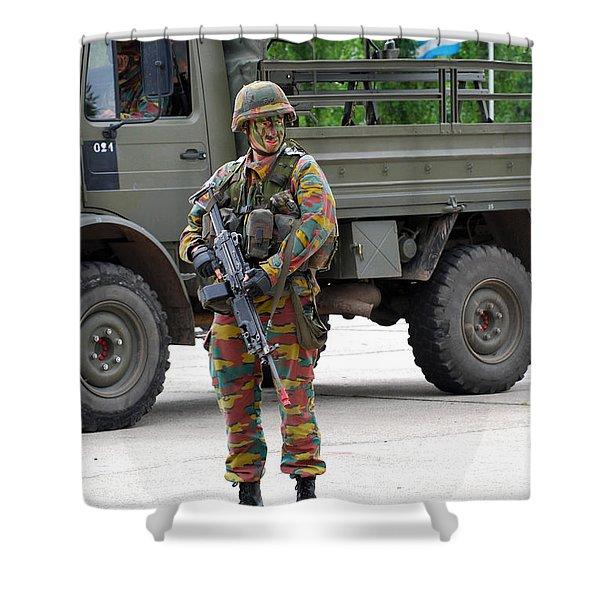 A Belgian Infantry Soldier Handling Shower Curtain by Luc De Jaeger