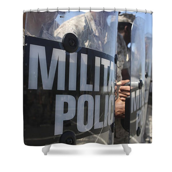 A Close-up View Of Marines Holding Riot Shower Curtain by Stocktrek Images