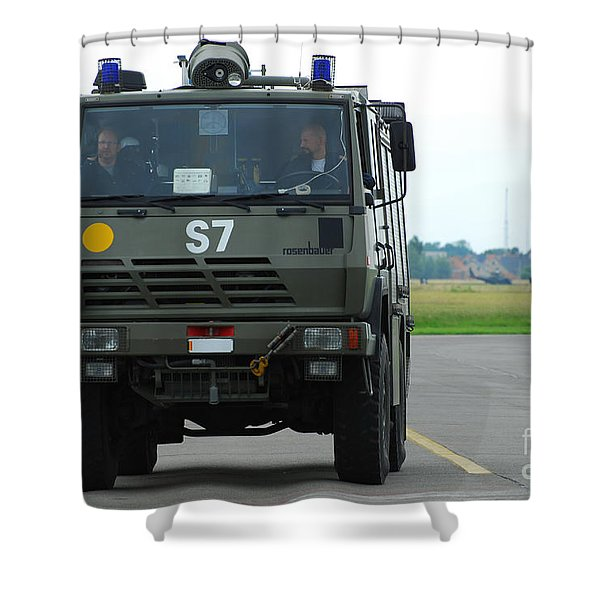 A Fire Engine Based At The Air Force Shower Curtain by Luc De Jaeger