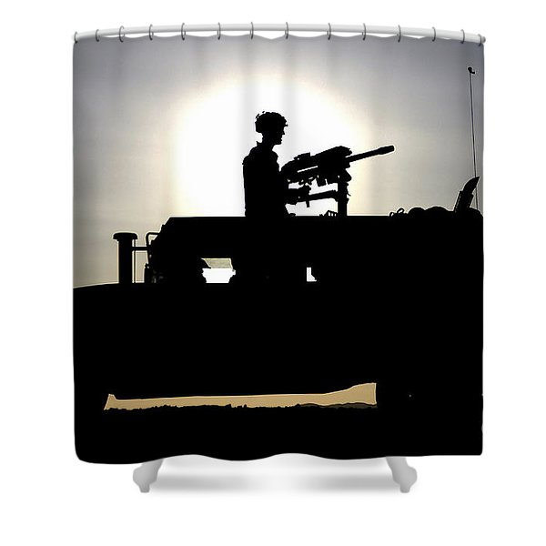 A Gunner Mans An Mk-19 40mm Machine Gun Shower Curtain by Stocktrek Images