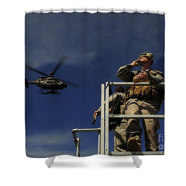 A Joint Terminal Attack Controller Shower Curtain by Stocktrek Images