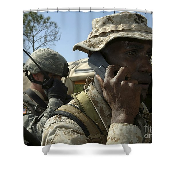 A Marine Communicates With Aircraft Shower Curtain by Stocktrek Images