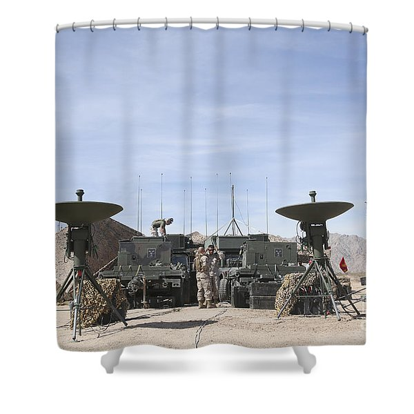 A Marine Unmanned Aerial Vehicle Shower Curtain by Stocktrek Images