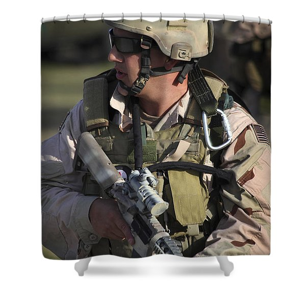 A Military Reserve Navy Seal Kneels Shower Curtain by Michael Wood