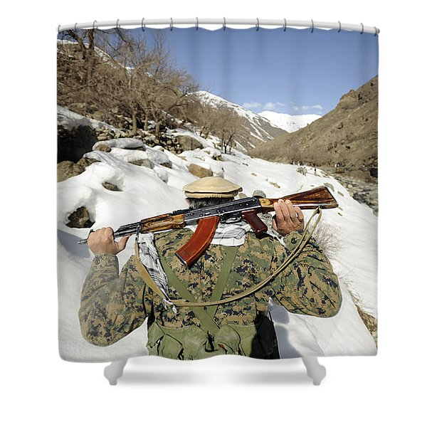 A Mujahadeen Guard Walks With U.s Shower Curtain by Stocktrek Images