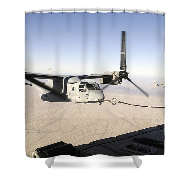 A Mv-22 Osprey Refuels Midflight While Shower Curtain by Stocktrek Images