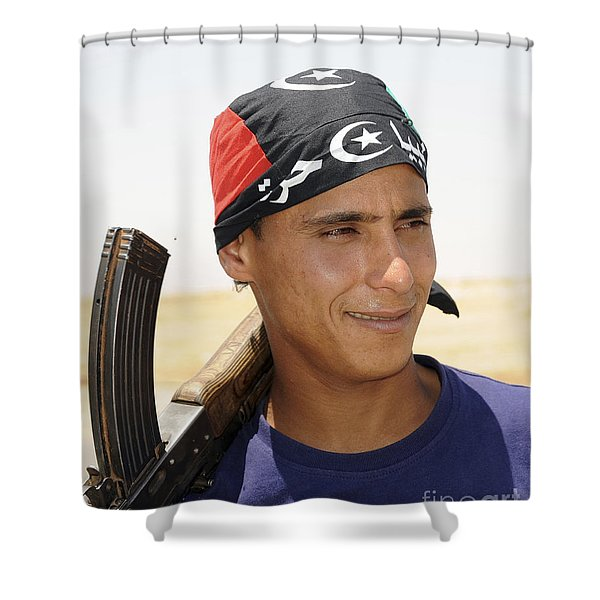 A Rebel Fighter With An Ak-47 Assault Shower Curtain by Andrew Chittock