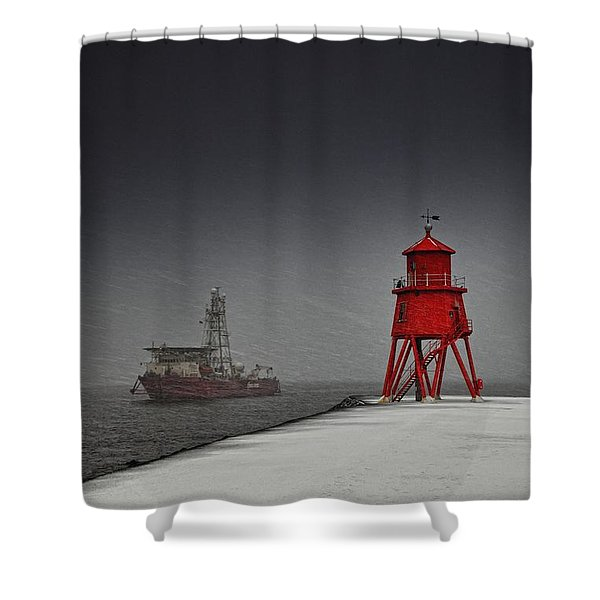 A Red Lighthouse Along The Coast In Shower Curtain by John Short