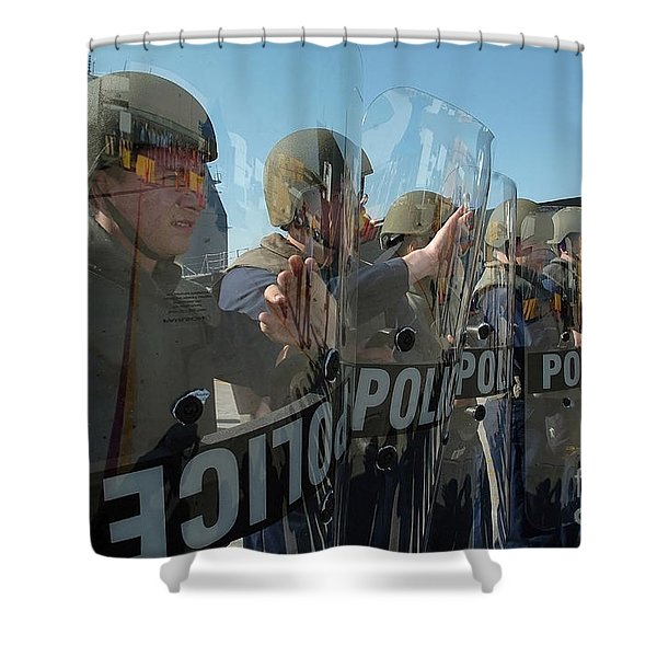 A Riot Control Team Braces Shower Curtain by Stocktrek Images