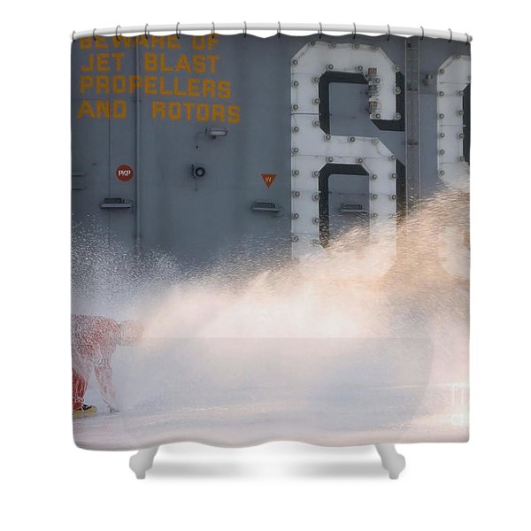 A Sailor Collects Samples Of Aqueous Shower Curtain by Stocktrek Images