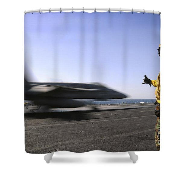 A Sailor Ensures An Fa-18c Hornet Shower Curtain by Stocktrek Images