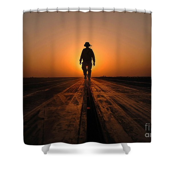 A Sailor Walks The Catapults Shower Curtain by Stocktrek Images