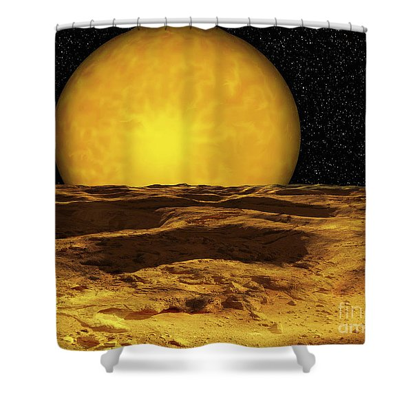 A Scene On A Moon Of Upsilon Andromeda Shower Curtain by Ron Miller