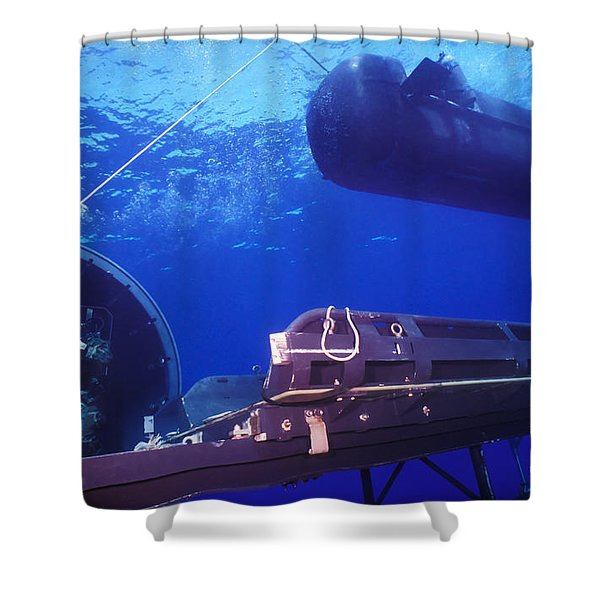A Seal Delivery Vehicle Hovers Shower Curtain by Michael Wood