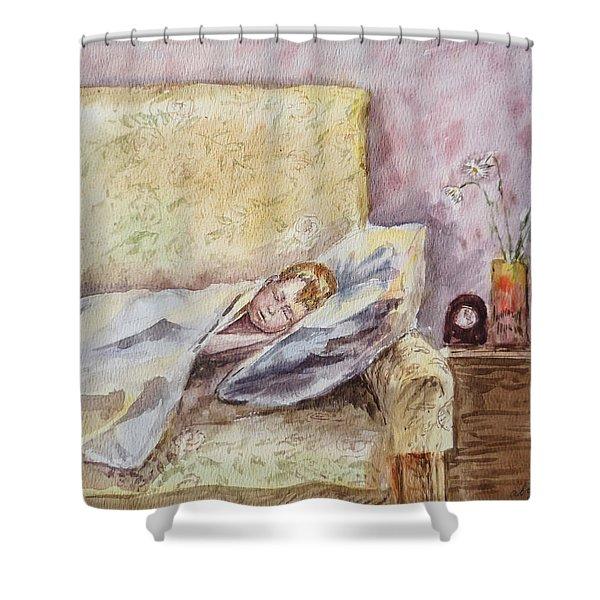 A Sleeping Toddler Shower Curtain by Irina Sztukowski