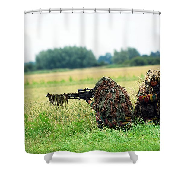 A Sniper Unit Of The Paracommandos Shower Curtain by Luc De Jaeger
