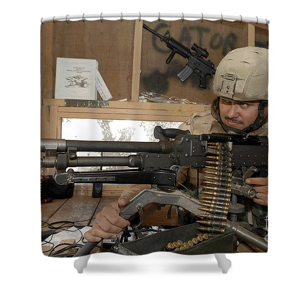 A Soldier Conducts An Observation Shower Curtain by Stocktrek Images